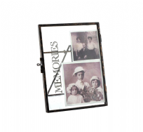 "Memories ~ 6 X 4"" Vintage Black Metal and Glass Photo Clip Frame"